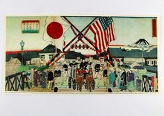 1879 woodblock of the Grant's arrival in Japan. Photo Wall, Japan, Painting, Horses, Google, Art, Historia, Art Background, Photograph