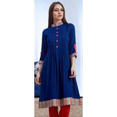Buy Blue High Neck Kurti - Latest Kurti's Online Shopping at Peachmode