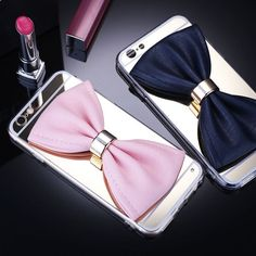 iPhone 6/6S, 6/S Plus, 5/5S -  Pretty Bow Ring Mirror Case in Assorted Colors