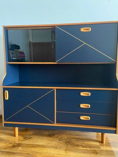 Mid Century Modern Vintage Retro Style Display Cabinet   Etsy Buffet Cabinet, Liquor Cabinet, Mid Century Buffet, Retro Sideboard, Midnight Blue Color, Mineral Paint, Hand Painted Furniture, Retro Style, Retro Fashion