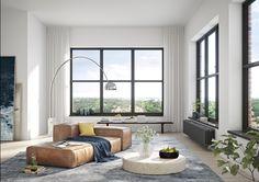 Oscar Properties #oscarproperties  Kvarnholmen, Bageriet, leather sofa, sofa,  windows, living room, nacka, design, stockholm