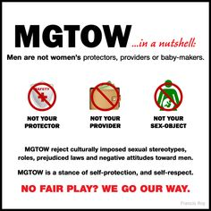 MGTOW (Men Going Their Own Way), in its current state, is an ideology of voluntary biological failure for men as a solution for alleged society's bias against men. MGTOW ideology encourages men to forgo having physical or emotional relationships with woman or to live a ChildFree lifestyle. If 100% of men start to follow the MGTOW  ideology, the Humanity will cease to exist.