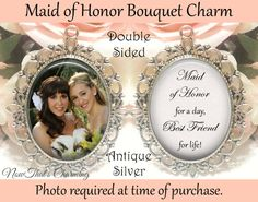 Double-Sided Maid of Honor Bouquet Charm  by NowThatsCharming