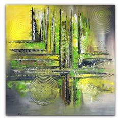 BURGSTALLER Original Gemälde Zitronenbaum abstrakte Malerei grün gelb Kunst Art