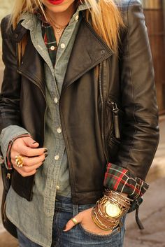 plaid shirt + denim? shirt + leather jacket (all form fitting) + multiple thin bracelets