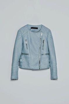 ZARA BLUE LEATHER JACKET cores tendência, azul, placid blue, dazzling blue, azul bebé, azul cobalto, azul royal, primavera verão 2014, tendências, tendências de core...