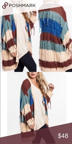 🆕💠💠The KAYLEN cardigan - BROWN 🎉️️HPx2🎉Hi darn FUN is this color block cardigan? I really love this sweater. Love the color combos along with the fun & unique fringe design. ‼️NO TRADE‼️ Bellanblue Sweaters Cardigans