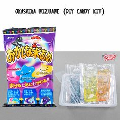 { Okashina Mizuame (DIY Candy Kit) // Coris } - Make ooey gooey sticky candy with this DIY Candy Kit. Each package includes 3 pouches of clear liquid candy (lemon, strawberry, and ramune) along with a spoon and mixing tray. Mix the three flavors together to reveal a new flavor. It's a mystery! #candy #japan #247japanesecandy