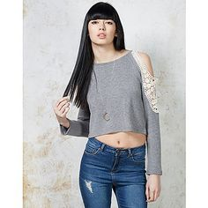 Hearts and Bows Eden Lace Open Shoulder Crop Sweater