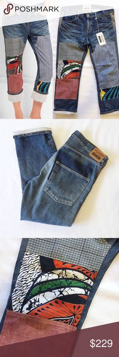 """New JUNYA WATANABE Patchwork Boyfriend 175975 Junya Watanabe's jeans are decorated with a variety of printed and textured patches. Detailed with front whiskering, this pair has been made in Japan and cut for a relaxed boyfriend fit. We especially like how you can roll up the cuffs to reveal the white broderie anglaise reverse.  MEASUREMENTS Waist:  16.5"""" flat across Rise:  9"""" Inseam: 26"""" Junya Watanabe Jeans Boyfriend"""