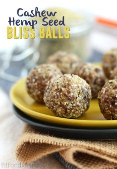 Cashew Hemp Seed Bliss Balls plus more ball recipes Clean Eating Recipes, Raw Food Recipes, Snack Recipes, Cooking Recipes, Healthy Recipes, Delicious Recipes, Keto Recipes, Healthy Energy Ball Recipe, Hemp Seed Recipes