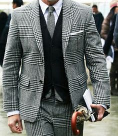 Black and gray - Houndstooth plaid, menswear style + fashion