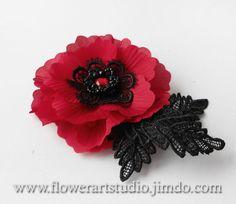 Flower brooches red fabric flower brooch hair pin silk poppy red fabric flower brooch red silk flower red by flowerartstudio mightylinksfo