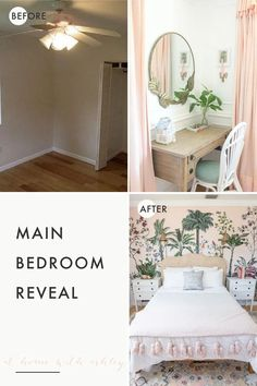 main bedroom reveal! A light and bright master bedroom interior makeover! With pink tropical cxhinoiserie wallpaper and whimsical decor. Colorful ideas to still have a calming design. Lots of inspiration images