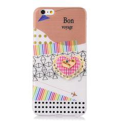 3D Lace Flower Design Soft TPU Case for iPhone 6 6S - Quote Bon Voyage