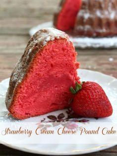 Easy, moist strawberry cream cheese pound cake is so pretty and so good! Dense enough for wedding cake - http://restlesschipotle.com