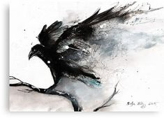 Abstract raven ink art Canvas Print