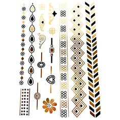 Sheet of Black and Gold Metallic Flash Temporary Tattoos - SD-8825 by Pritties Accessories >>> You can find out more details at the link of the image. (This is an affiliate link) #TemporaryTattoos