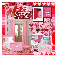 """""""color challenge pink & red"""" by summer-marin ❤ liked on Polyvore featuring interior, interiors, interior design, home, home decor, interior decorating, Designers Guild, iCanvas, Americanflat and Berkshire"""
