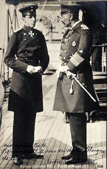 King Alfonso XIII of Spain and Kaiser Wilhelm II of Germany. Alfonso's wife and Wilhelm were cousins