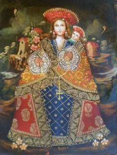 """La Virgen De Las Rosas"" ENGISH The Madonna of the Roses  §  Spanish Colonial Style Painting  Cuzco, Peru"