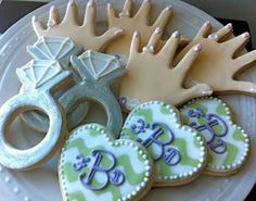 Custom Chevron Monogrammed Hearts and Rings Engagement and Wedding Decorated Cookies Set