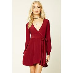 Forever 21 Women's  Surplice-Front Mini Dress (1.240 RUB) ❤ liked on Polyvore featuring dresses, forever 21, cross over dress, red mini dress, cross front dress and forever 21 dresses