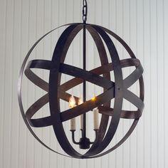 Metal Strap Globe Lantern - Medium office light