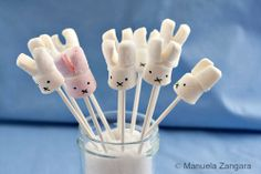 Ingredients: Marshmallows Lolly pop Sticks Candy melts or Royal Icing Edible ink pen Decorated Marshmallows, How To Make Marshmallows, Chocolate Covered Marshmallows, Marshmallow Pops, Bolo Miffy, Miffy Cake, Marshmallows Decorados, Valentines Healthy Snacks, Quick Snacks For Kids