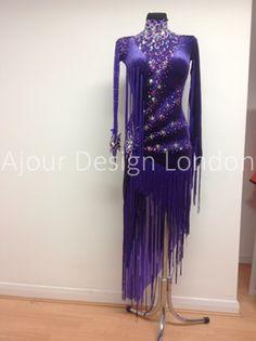 Ajour Design London blue purple long fringe diagonal latin dress crystal