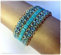 Schema perline, bracciale Embiez con cristalli, tila superduo e rocailles. Come fare un bracciale.
