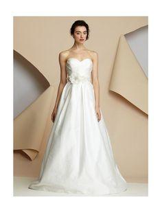 Satin Sweetheart Neckline A-Line Wedding Dress with Handmade Flower Sash - Bridal Gowns - RainingBlossoms