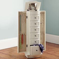 Chelsea Jewlery Armoire from PB Teen! I need the storage for my jewlery to open up more room in my walk in closet! Jewelry Cabinet, Jewelry Armoire, Jewellery Storage, Jewelry Organization, Chelsea, Side Tables Bedroom, Bedroom Dressers, Bedroom Vanities, Pottery Barn Teen