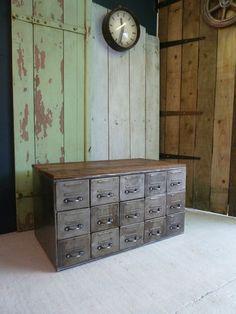 Vintage Eastern European Metal Coffee Table Cabinet Industrial