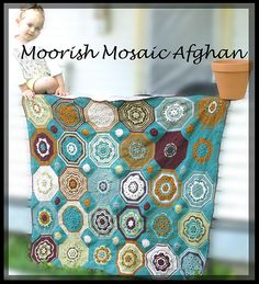 Ravelry: Moorish Mosaic Afghan pattern by Lisa Naskrent Afghan Crochet Patterns, Pdf Patterns, Crochet Motif, Afghan Blanket, Moorish, Yarn Needle, Stitch Markers, Mosaic, Tapestry