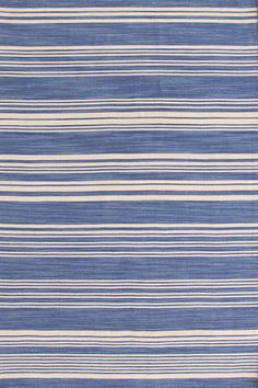 Dash and Albert Cottage Stripe French Blue Wool Woven  Rug