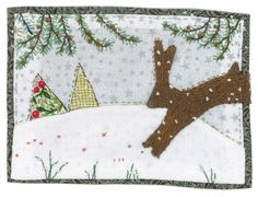 Sharon Blackman leaping rabbit and winter trees Freehand Machine Embroidery, Free Motion Embroidery, Free Machine Embroidery, Christmas Applique, Christmas Sewing, Handmade Christmas, Hand Applique, Applique Patterns, Embroidery Applique