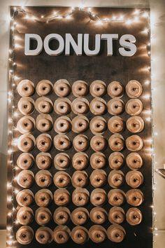 simple diy donut wal simple diy donut wall with string lights wedding ideas - Wedding Reception Ideas - Donuts Wedding Donuts, Wedding Cakes With Cupcakes, Wedding Desserts, Cupcake Cakes, Donut Bar, Dessert Bars, Dessert Table, Wedding Reception, Reception Ideas