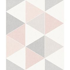 Wrought Studio Update any living room, bedroom or hallway with this retro-inspired yet modern geometric wallpaper. The solid coloured triangles will bring freshness and interest to any wall. Geometric Wallpaper Pink And Grey, Pink And Grey Wallpaper, Geometric 3d, Wallpaper Panels, Wallpaper Roll, Wallpaper Paste, Colour Pallete, Color Palettes, Pink Paper