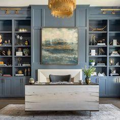 Cuzco Desk, Bleached Yukas – High Fashion Home Built In Shelves Living Room, Built In Desk, Built In Bookcase, Office Bookshelves, Bedroom Built Ins, Painted Bookshelves, Office Shelving, Bookcases, Office Interior Design