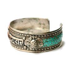Om Mani Padme Hum bracelet, Tibetan silver, turquoise mosaic.