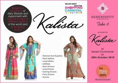 #KALISTA brings you wide range of designer women clothing at tempting prizes at Vasant Continental on 28th Oct....#betheredelhi for Delhi's Most Exciting Shopping Carnival with over 100 Designer brands at Display, participate in Take 6 contest and win exciting prizes  https://www.facebook.com/Serendipitybykashish/app_244041225639079