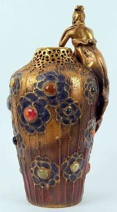 Amphora Pottery Art Nouveau Figural Vase, circa 1905