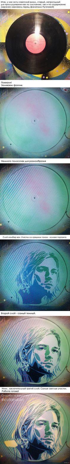 Курт Кобейн в трафаретной технике. Фото процесса. Свой первый пост я посвятила портрету Дэвида Боуи, на этот раз, по заявкам в комментариях к первой работе, под мой нож попал Курт Кобейн