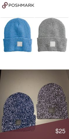 """Set of 2 Herschel Abbott reflective beanies Herschel Abbott Beanies in Blue and Grey Unisex beanies. Reflective knit. Elevated profile. Broad cuff. Woven ID label. 100% acrylic. One size: 8.75"""" (H) x 7.5"""" (W). Imported. Vendor Style #: 1001 Herschel Supply Company Accessories Hats"""