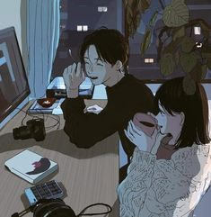 * - - - - ◇ ◆ I don't own these art ◇ ◆©️artis Kawaii Illustration, Japon Illustration, Couple Illustration, Character Illustration, Cute Couple Drawings, Cute Couple Art, Anime Love Couple, Cute Drawings, Cute Couples