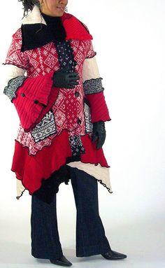 Sweater Coat Red Black and White Norwegian by Brendaabdullah, $385.00