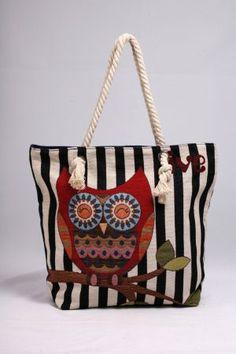 Μεγάλη υφασμάτινη τσάντα για τη θάλασσα και την αγορά.  Υπέροχο σχέδιο κουκουβάγια, υφασμένο σε μηχανή. Style, Bags, Swag, Outfits