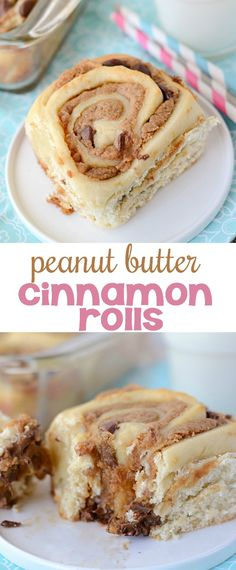 Peanut Butter Cinnamon Rolls are filled with peanut butter and chocolate chips. This is the perfect brunch recipe!