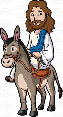 Jesus riding a donkey 1